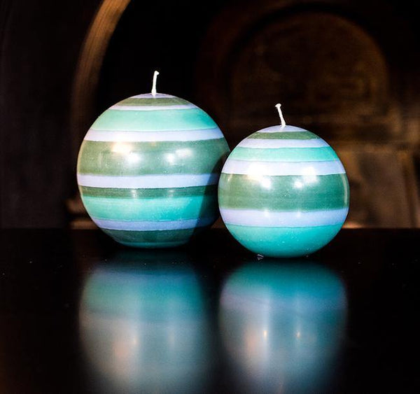 Striped Ball Candle - Beryl Green, Bokhara & Moonstone Grey