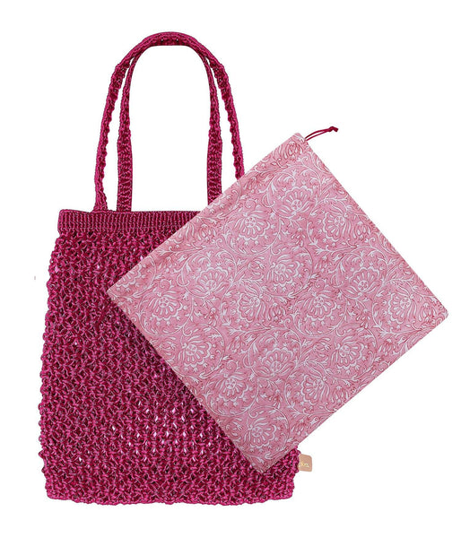 Dilli Grey x Bell & Fox rani pink macrame shopper - Dilli Grey