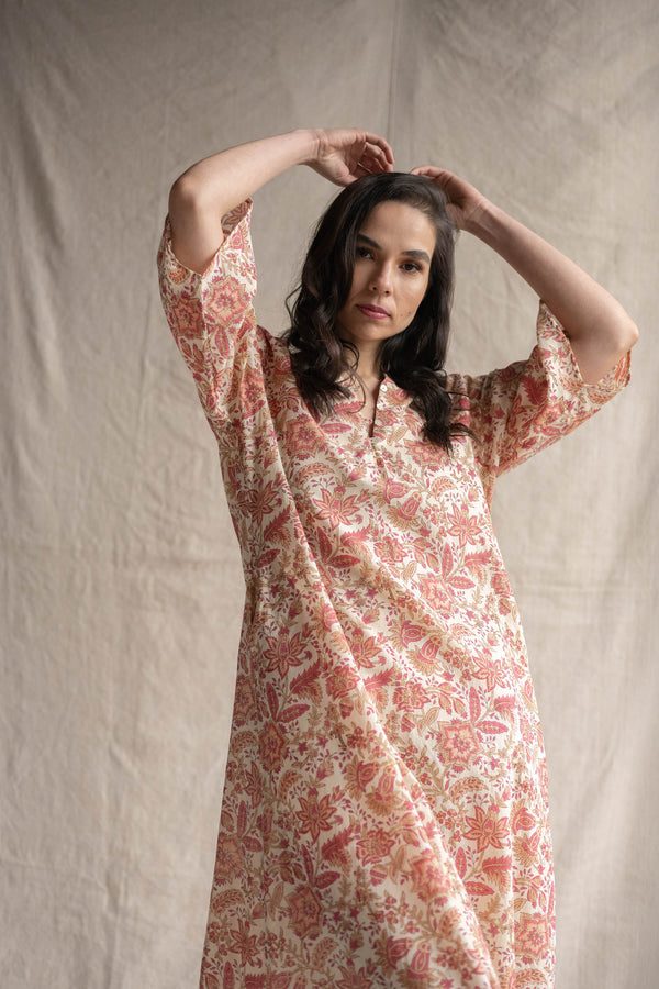 Mumtaz kaftan maxi dress in papaya