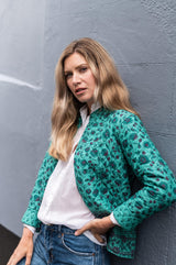 Bianca quilted jacket in jade green - Dilli Grey