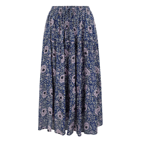 Farah maxi-tiered skirt in midnight blue
