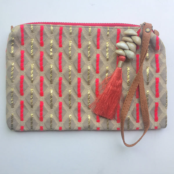 Pink and gold tassel clutch - Dilli Grey