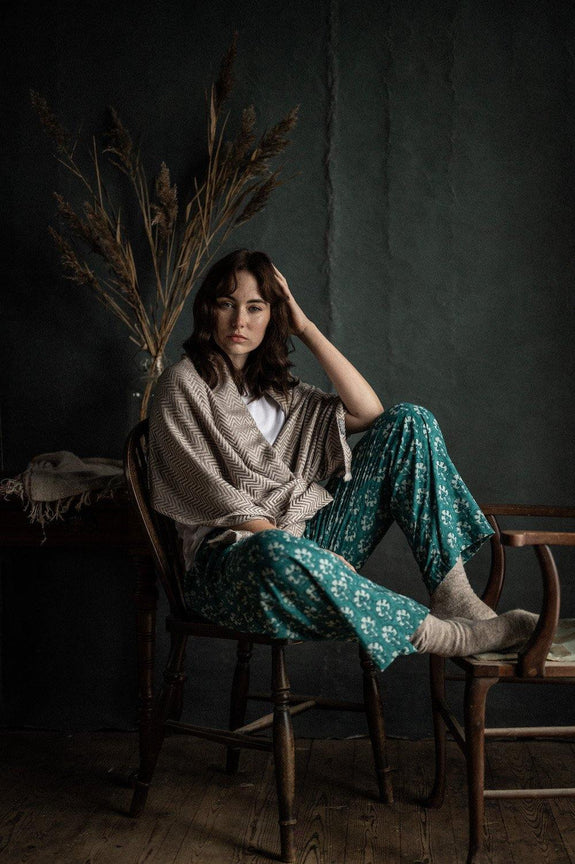 Teal Dilkush print pyjama trousers