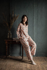 Peach Pichola print PJ set and Body oil gift duo - Dilli Grey