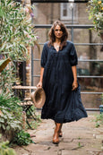 Midnight blue hand-embroidered maxi hippie dress - Dilli Grey