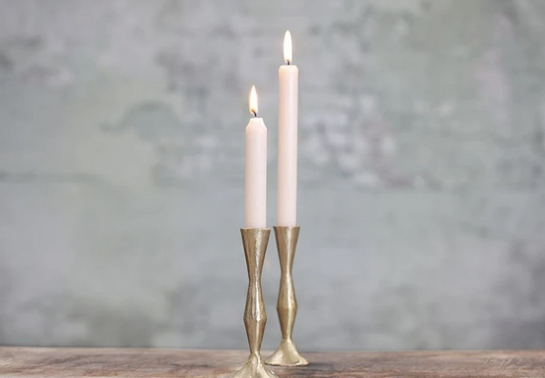 Jahi Brushed Gold Tall Brass Candlestick - Dilli Grey