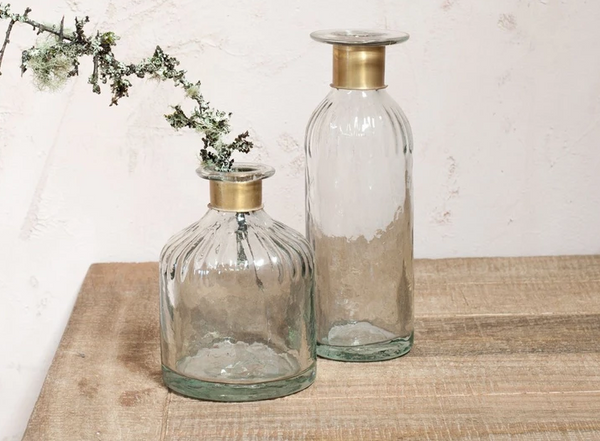 Chara Hammered Brass and Glass Bottles - Dilli Grey