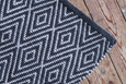 Hand-woven white and navy diamond rug - Dilli Grey