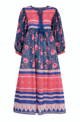 Farah midi dress in neela blue - Dilli Grey