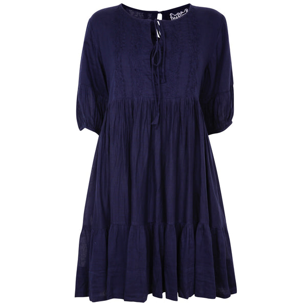 Chikankari-embroidered tunic dress in midnight blue - Dilli Grey