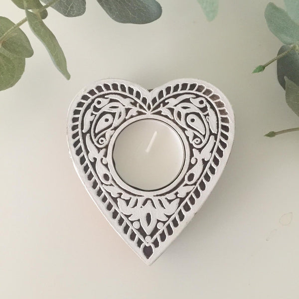Heart block tea light holder - Dilli Grey