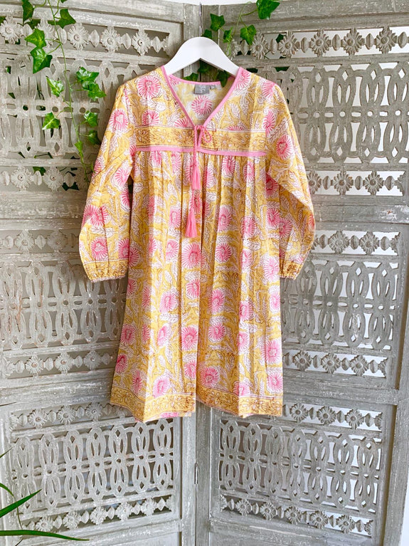Yellow mini me boho dress - Dilli Grey