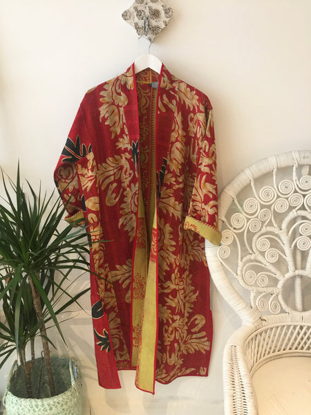 Red and gold Gudri quilted vintage maxi coat - Dilli Grey