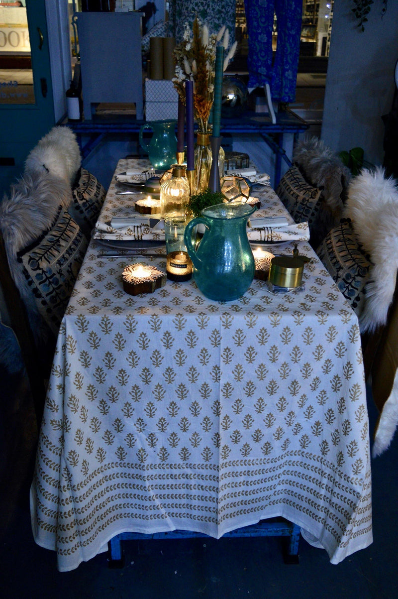 Gold hand-block print table cloth - Dilli Grey