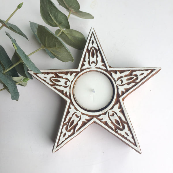 Star print block tea light holder - Dilli Grey