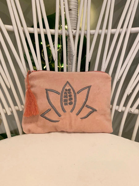 Peach velvet embroidered clutch - Dilli Grey