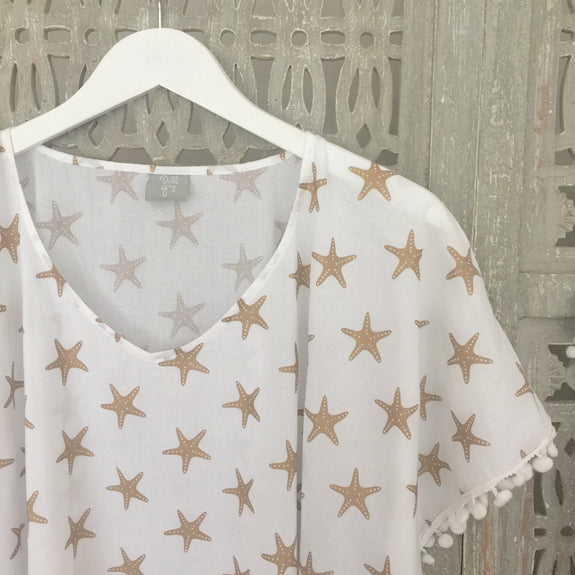 Ladies gold starfish kaftan - Dilli Grey