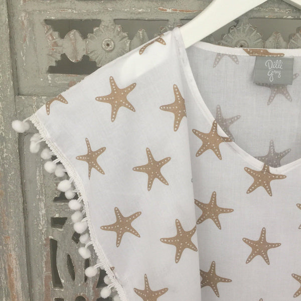 Children's gold starfish pom pom kaftan - Dilli Grey