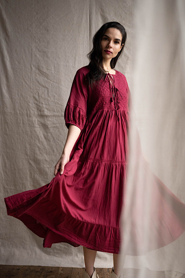 Chikankari-embroidered maxi dress in pomegranate