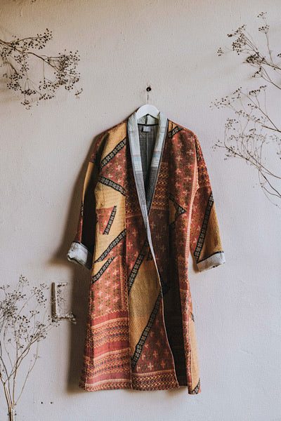 Red Aztec Gudri quilted vintage maxi coat - Dilli Grey