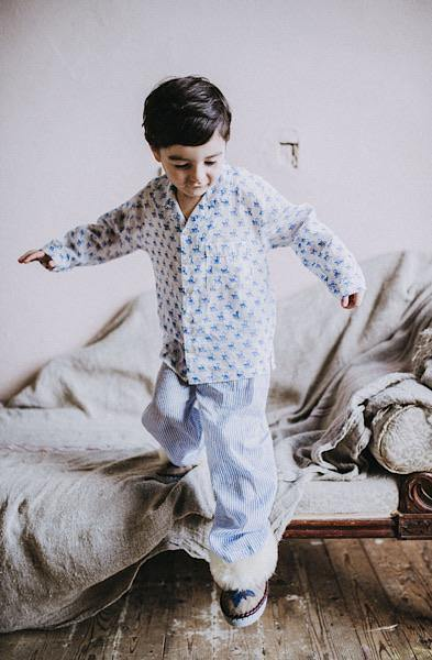Blue and white monkey and stripe kids pyjama se