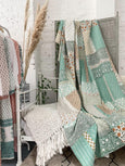 Sage and mango hand embroidered kantha throw - Dilli Grey