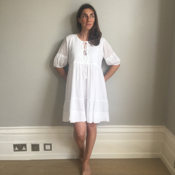 White hand embroidered hippie tunic dress - Dilli Grey