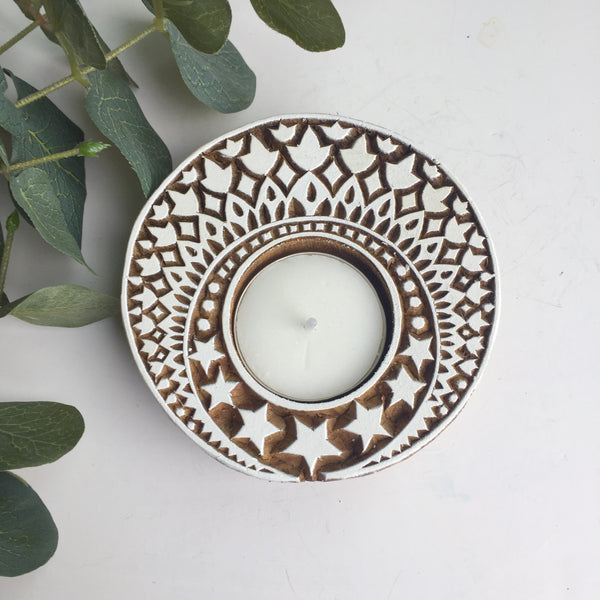 Moon and star print block tea light holder - Dilli Grey