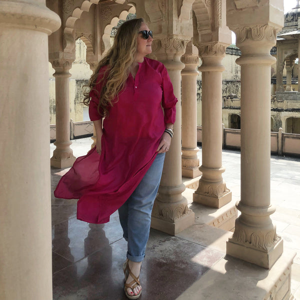 Pink silk tunic dress - Dilli Grey