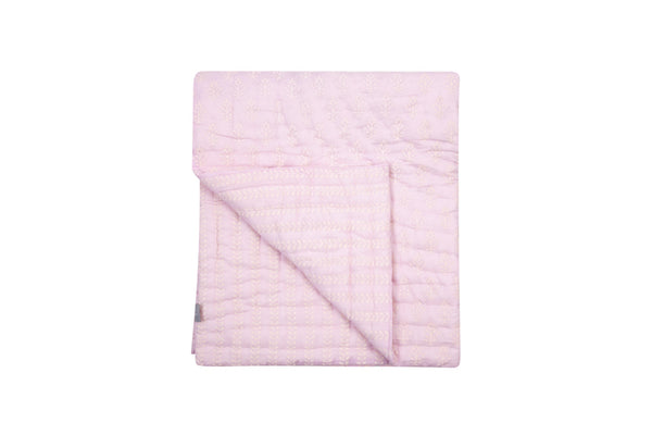 Lilac and white booti hand-block print quilt - TODDLER - Dilli Grey