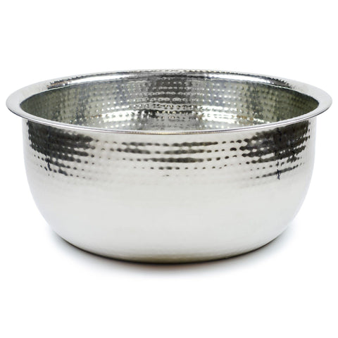 Pedicure Bowl - Hammered Brass w/White
