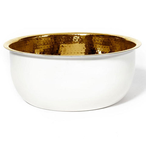 Pedicure Bowl - Hammered Stainless Steel w/White