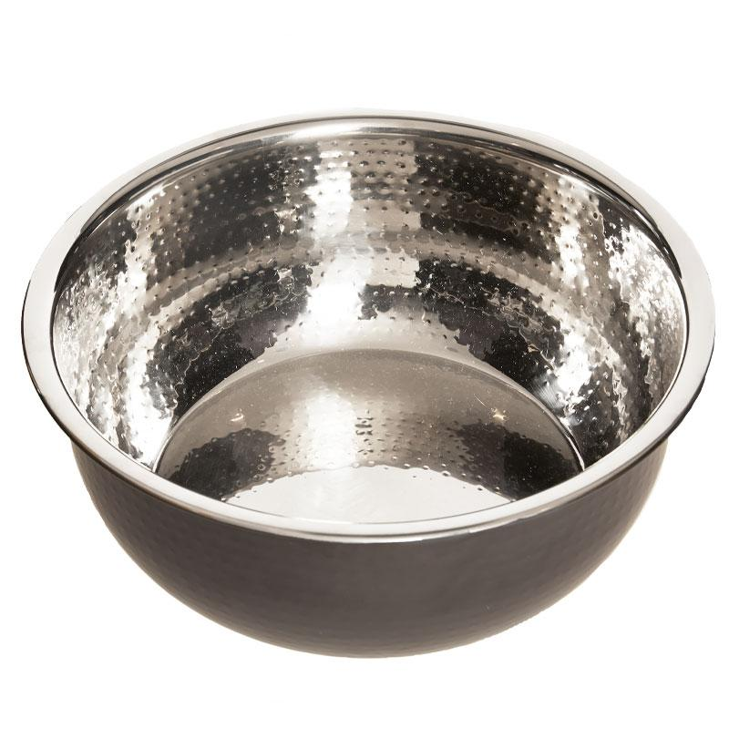 PRE-ORDER Pedicure Bowl - Hammered Stainless Steel w/Black