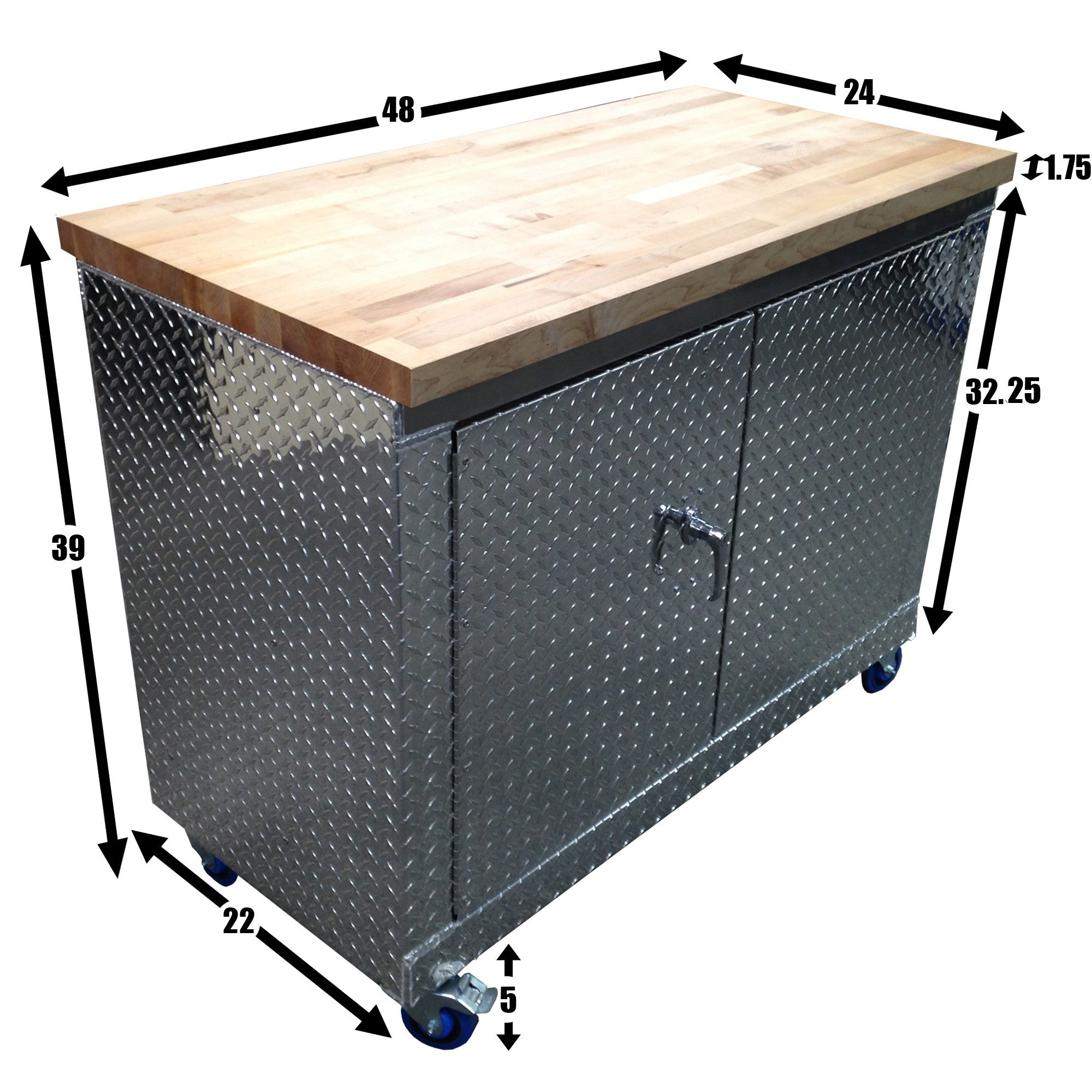 ... Rolling Garage Workbench   Storage Cabinet   4 Ft   Diamond Plate  Aluminum ...