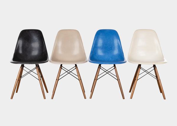 Vintage Charles and Ray Eames DSW Black, Greige, Ultramarine Blue, Parchment