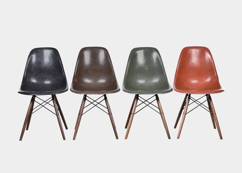 Vintage Charles and Ray Eames DSW Black, Seal Brown, Olive Green Dark, Terra Cotta