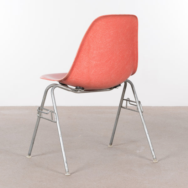 Charles and Ray Eames DSS Dining Side chair Stacking base Herman Miller Salmon
