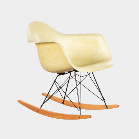 Charles and Ray Eames RAR Rocker Lemon Yellow rope chair