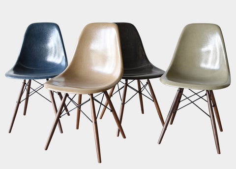 Eames DSW Charcoal, Navy Blue, Raw Umber, Tan Light