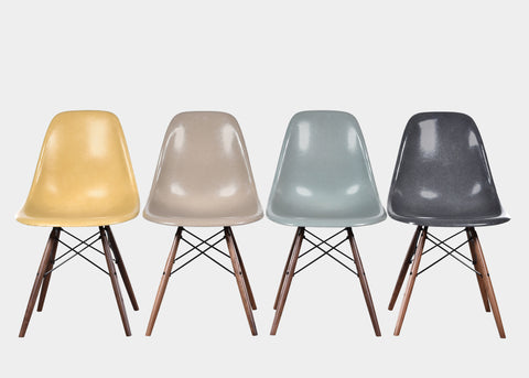Vintage Eames DSW Ochre Light, Greige, Sea Foam Green, Elephant Hide Grey