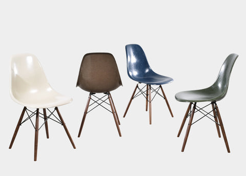 Eames DSW Set: Navy Blue, Olive Green Dark, Seal Brown, Parchment