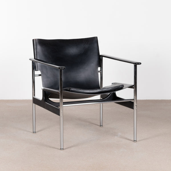 Charles Pollock Armchair, model 657 black leather