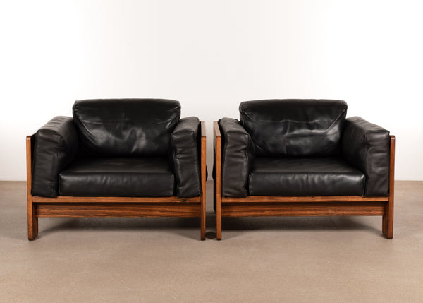 Tobia Scarpa Bastiano club chairs in rosewood for Haimi Finland, 1975