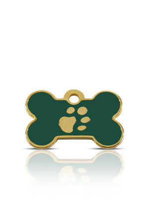 TaggIT Elegance Small Bone Green & Gold iMarc Dog Tag