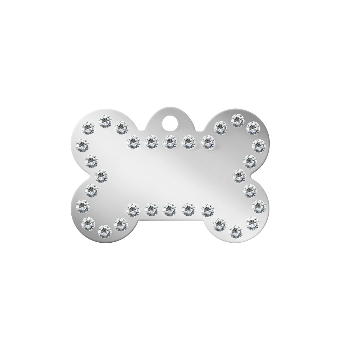 TaggIT Glamour Silver Large Bone Pet ID Tag
