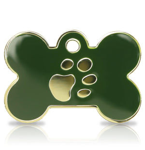 TaggIT Elegance Large Bone Green & Gold Dog Tag iMarc Tag