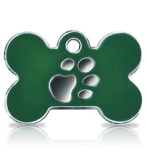 TaggIT Elegance Large Bone Green & Silver Dog Tag iMarc Tag