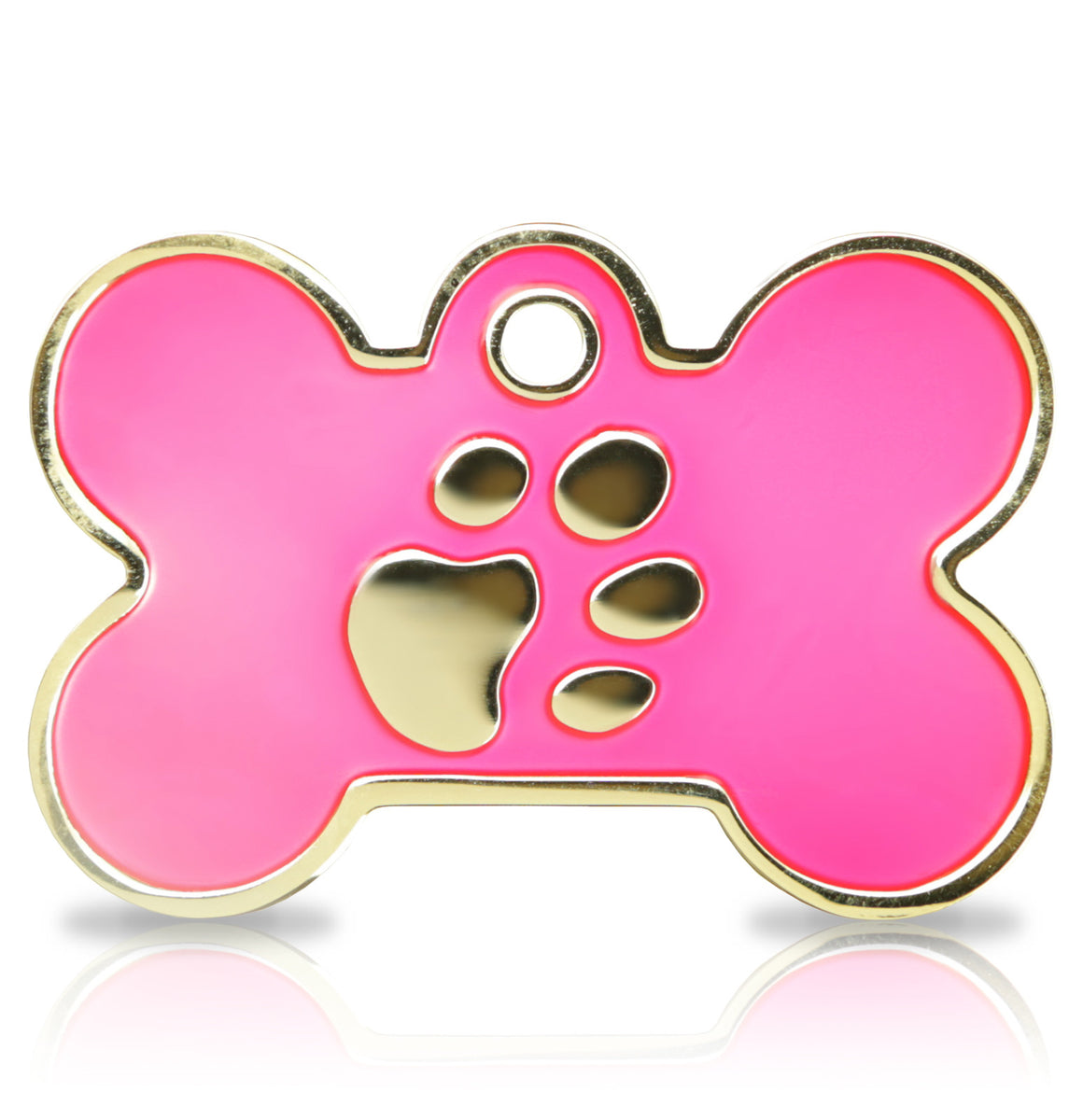 TaggIT Elegance Large Bone Pink & Gold Dog Tag iMarc Tag