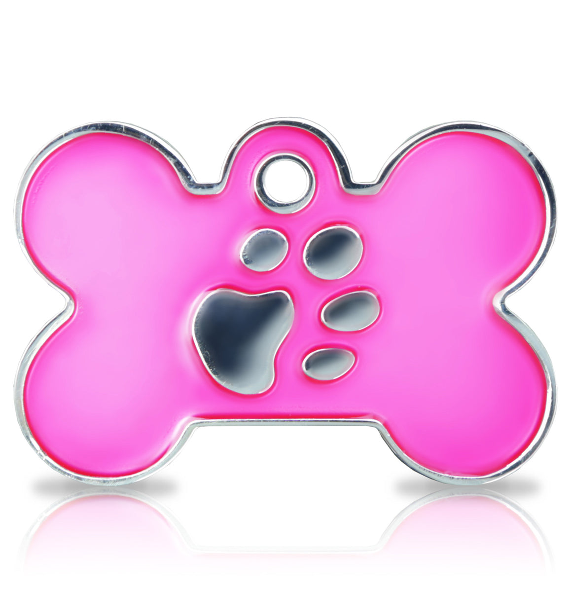 TaggIT Elegance Large Bone Pink & Silver Dog Tag