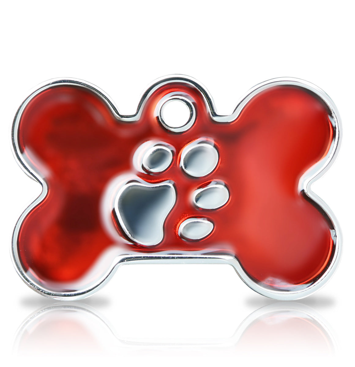 TaggIT Elegance Large Bone Red & Silver Dog Tag iMarc Tag